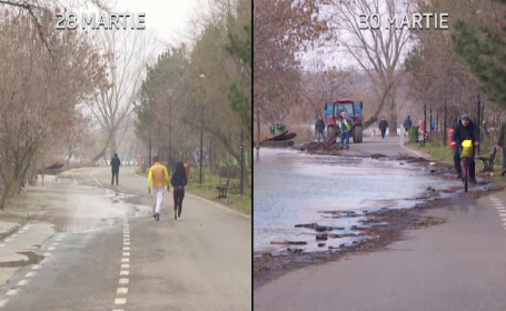 Dunărea a depășit cota de inundație. La Galați, apa a pătruns pe faleza pietonală