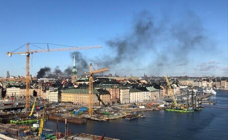 Un autobuz a explodat în centrul oraşului Stockholm. Nor de fum deasupra capitalei Suediei