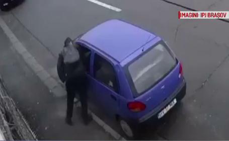 Hoț, filmat în timp ce fură un telefon dintr-o mașină