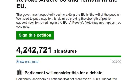 Petiția împotriva Brexitului a strâns peste 4 milioane de semnături