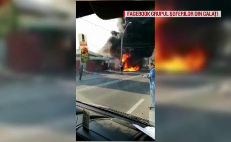 Incendiu puternic la un service auto din Galați
