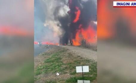 Un incendiu de proporții în Dâmbovița a provocat pagube de 20.000 de euro