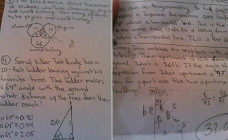 Un profesor de matematica din SUA a fost dat afara dupa ce le-a dat elevilor aceasta problema