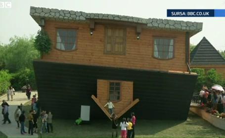 Cum arata casa construita cu susul in jos. Turistii care intra in ea spun ca au ameteli