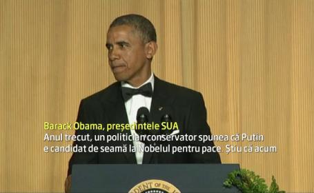 Barack Obama a fost pus pe glume la traditionalul dineu oferit de Casa Alba corespondentilor de presa