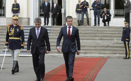 Ministrul Mircea Dusa si secretarul general al NATO, Anders Fogh Rasmussen