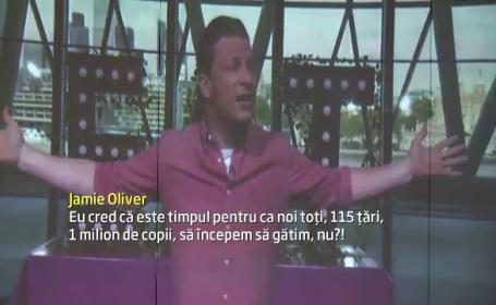 Jamie Oliver vrea sa doboare un record planetar. Celebrul bucatar a fost ajutat de 120 de copii din Cluj