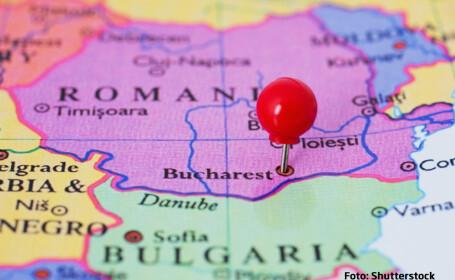 harta Romania cu pin pe Bucuresti