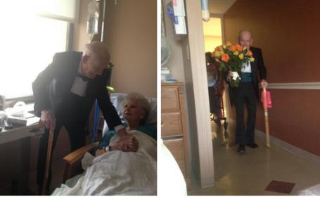 Gestul impresionant al unui batran, la aniversarea a 57 de ani de casnicie. Ce a facut pentru sotia sa internata in spital