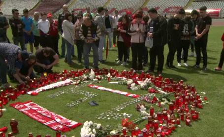 Arena Dinamo, loc de pelerinaj, dupa moartea lui Ekeng. Fanii si fotbalistii au aprins lumanari in locul unde s-a prabusit