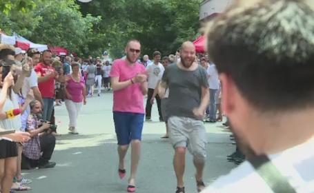 Reactia barbatilor care s-au intrecut la alergat pe tocuri la evenimentul caritabil de la \
