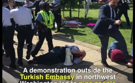 Violente la Washington, in timpul unui miting impotriva lui Recep Erdogan. 9 oameni, batuti rau de bodyguarzii presedintelui