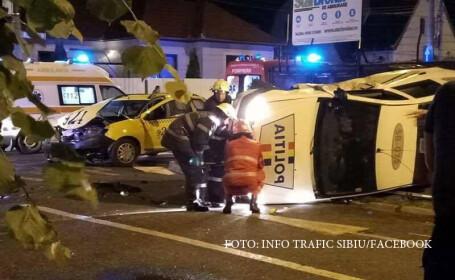 Politist din Sibiu, cercetat dupa ce a produs un accident grav. Agentul a intrat pe interzis, apoi a lovit un taxi