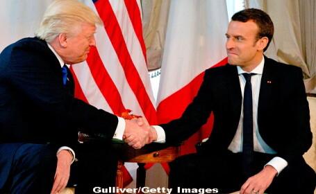 Reuters: Prima strangere de mana intre Trump si Macron a fost o adevarata inclestare. Cine a cedat primul. VIDEO