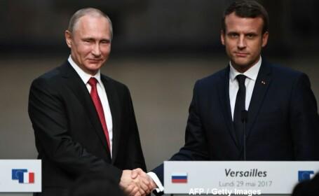 Macron, sfidator la intalnirea cu Putin. A numit 2 televiuni ruse \