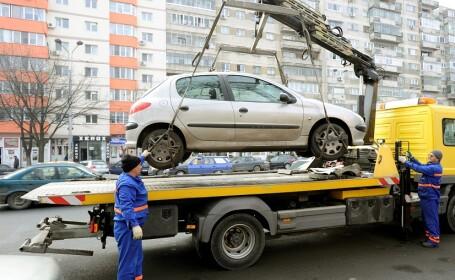 Actiune de ridicare a masinilor parcate in locuri nepermise