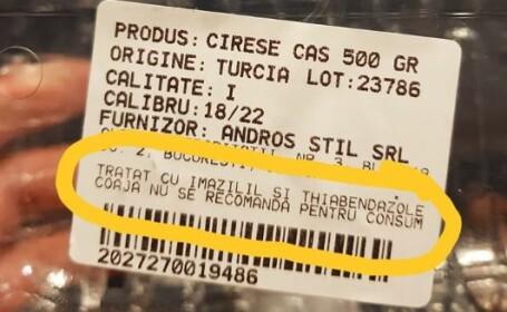 """Reacția Carrefour la cireşele a căror coajă """"nu se recomandă pentru consum"""""""