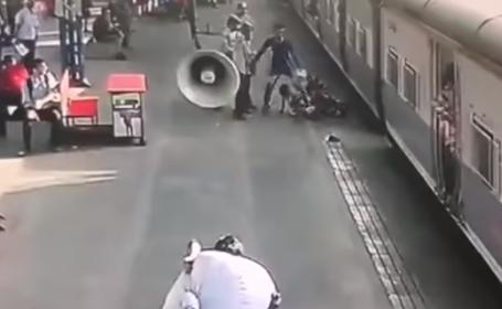 O fetiță de 5 ani, salvată după ce a fost trasă sub un tren aflat în mers. VIDEO