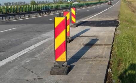 Asfatul a fost remediat pe A2, după ridicarea plăcilor de beton din carosabil