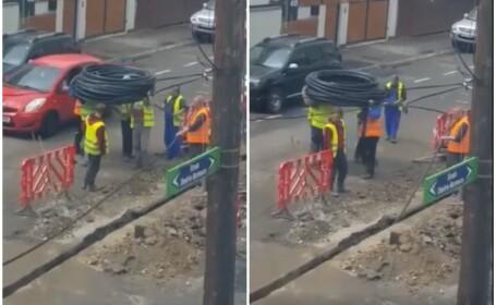 Reacțiile apărute după ce muncitori români au fost filmați desfășurând un cablu. VIDEO