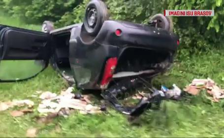 O șoferiță a scăpat cu viață după un accident grav, în Brașov. Femeia conducea cu viteză mare