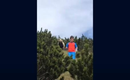 VIDEO. Reacția unui copil de 12 ani, urmărit de un urs în pădure. Cum a reușit să scape