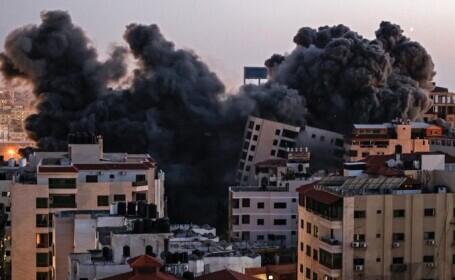 Israelul a distrus într-un atac o clădire Hamas cu 10 etaje din Gaza. Ploaie de rachete spre Tel Aviv. VIDEO