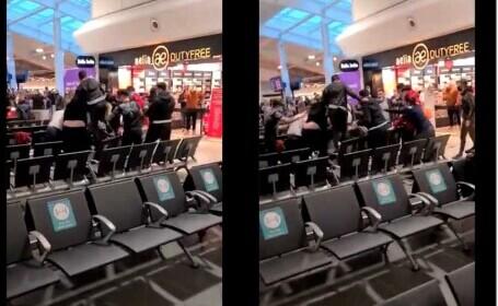 Românii s-au luat la bătaie pe aeroportul din Londra! Sânge și lovituri in plin cu trollerele! De la ce a plecat totul