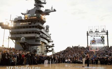 Obama, la un meci de baschet pe nava de pe care Bin Laden a fost aruncat in mare