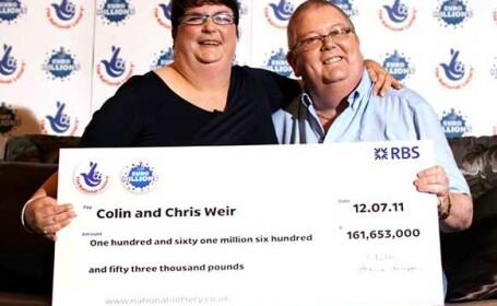 Decizia emotionanta a cuplului care a castigat peste 160 milioane de lire sterline la loterie