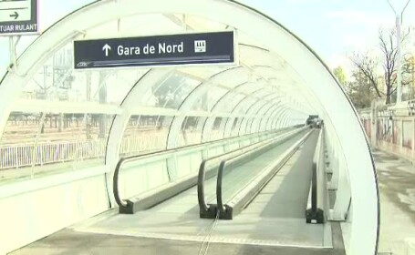 Lansat cu 9 luni intarziere, trotuarul rulant din Gara de Nord si Gara Basarab va fi pazit non-stop