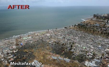 INAINTE si DUPA dezastru. Doua treimi din victimele taifunului din Filipine sunt copii