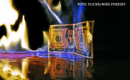 bancnota de 5 dolari care arde