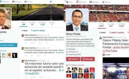 Klaus Iohannnis si Victor Ponta pe Twitter