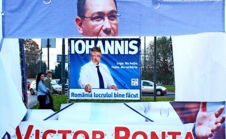 Afis electoral cu Klaus Iohannis si Victor Ponta