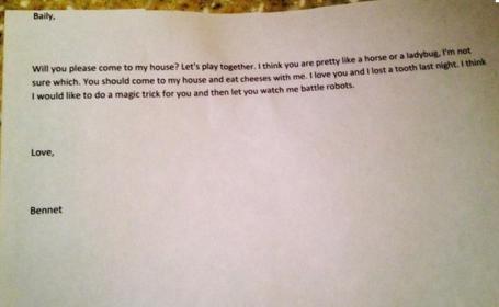 Copiii spun lucruri trasnite. Scrisoarea de dragoste trimisa de un baietel de patru ani: \