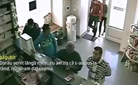 Au furat 5.000 de lei din buzunarul unui om aflat intr-o farmacie. Camerele de supraveghere au surprins intreaga \