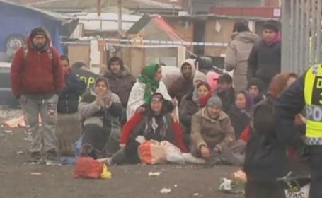 Tabara ilegala de romi din Malmo, demolata de politia suedeza. Majoritatea provin din Romania