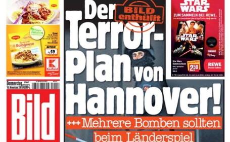 DOCUMENT CITAT DE BILD: Teroristii au planuit sa detoneze mai multe bombe pe stadionul din Hanovra si in centrul orasului
