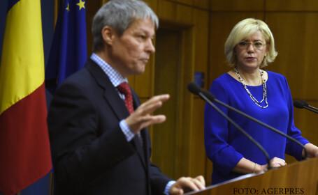 Declaratie comuna de presa sustinuta de comisarul european Corina Cretu, si premierul Dacian Ciolos, la Palatul Victoria.