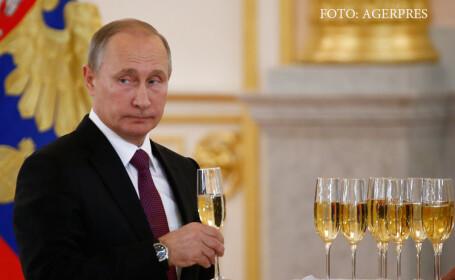 Vladimir Putin la Kremlin, bea sampanie dupa victoria lui Trump