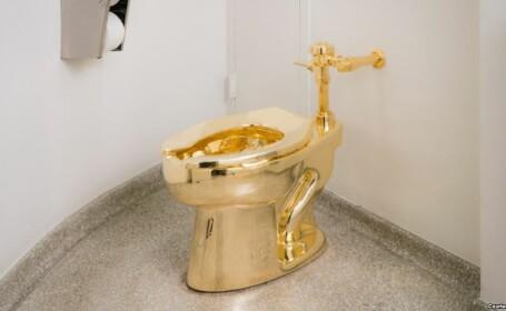 Cozi de doua ore la toaleta Muzeului Guggenheim din New York. Vasul de WC din aur masiv, intitulat \