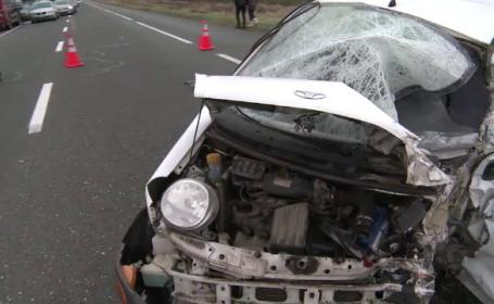 Accident grav pe DN2. Un om a murit si alti 4 au fost raniti dupa ce o masina a intrat pe contrasens