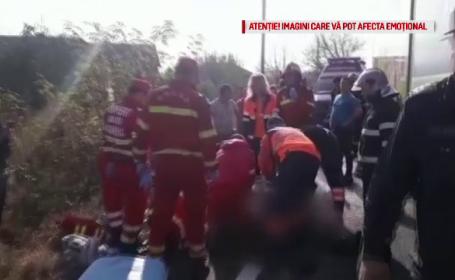 Un autocar cu 35 de pasageri, două camioane și un autoturism s-au ciocnit. Bilanțul carambolului