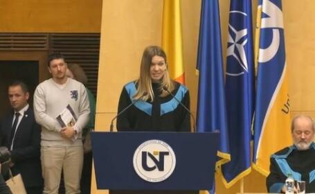 Simona Halep a primit titlul de Doctor Honoris Causa al Universităţii de Vest din Timişoara. FOTO