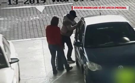 Momentul în care un șofer cade secerat într-o benzinărie