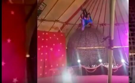 O acrobată și-a fracturat mâinile și un picior în timpul unui spectacol, în Hunedoara