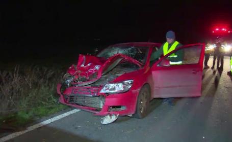 Accident grav în Dâmbovița. Căruță spulberată de mașină