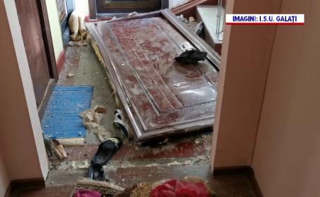 Explozie într-un bloc din Galați, după ce un meseriaș a tăiat țeava de gaze crezând că e cea de apă