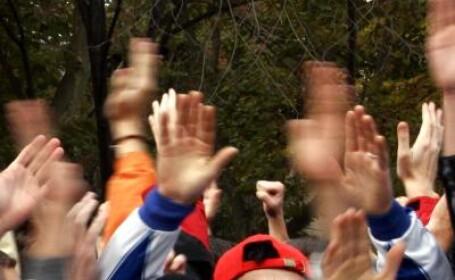 Protest in fata Liceul Teoretic Avram Iancu